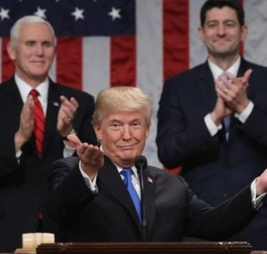 "Donald Trump proclaims ""a new American moment"" with his old rhetoric in his first speech of the State of the Union"