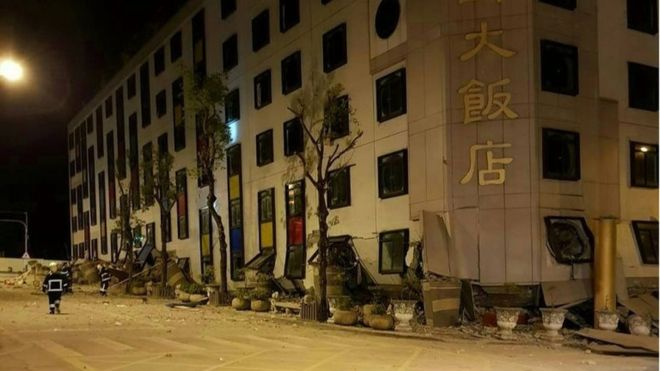A magnitude 6.4 earthquake strikes Taiwan and leaves at least 2 dead after collapsing several buildings