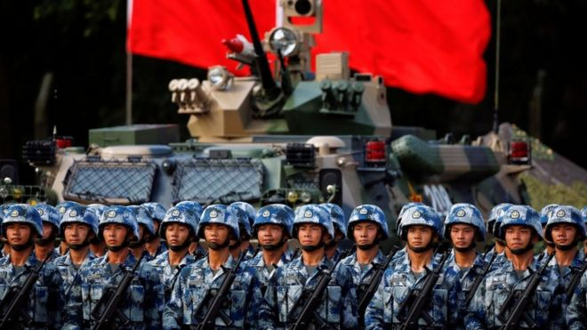 What are the military advances of China that now make the United States compare with it and not with Russia?