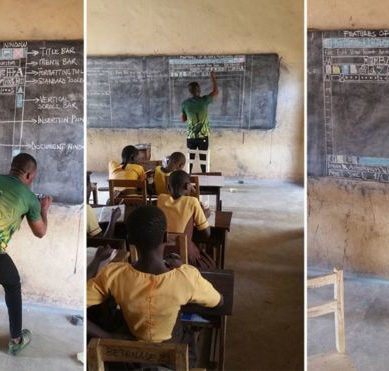 The Ghanaian teacher who teaches computing on a blackboard and without computers becomes a viral success