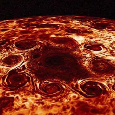Juno reveals the first image of the turbulent interior of Jupiter, the largest planet in the Solar System