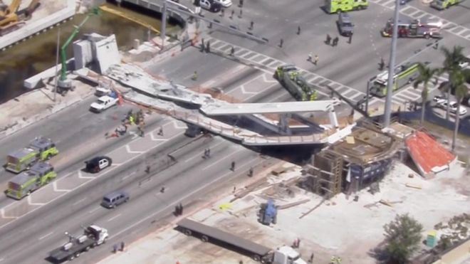At least 4 dead in the collapse of a newly constructed pedestrian bridge over a busy avenue in Miami