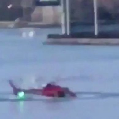 A helicopter crashes in New York
