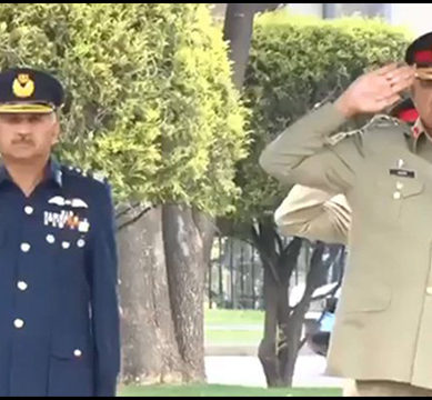 The 22nd Chief of PAF 'Marshal Mujahid Anwar Khan' honored at the GHQ