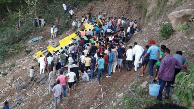 27 children die as school bus skids into a gorge during the trip, India