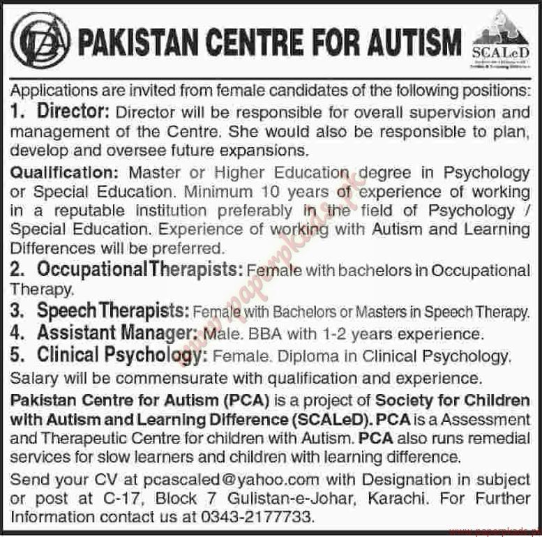 Pakistan-Centre-for-Autism-Jobs-Dawn-Jobs-ads-03-April-2016