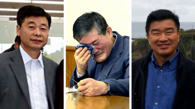 Who are the three Americans released in North Korea?