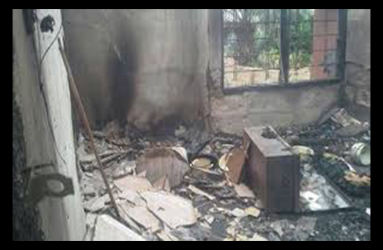 A house of 8 residents set ablaze by a mentally challenged mother