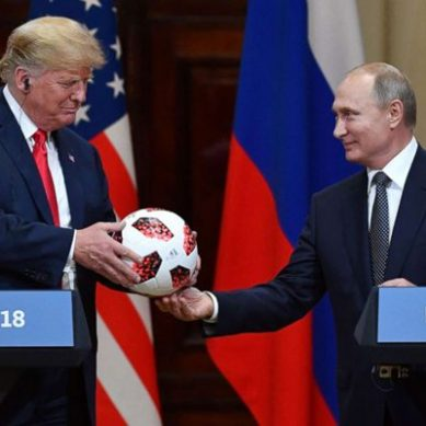 Putin and Trump share moments on a lighter note, Putin presents Pakistani World Cup football to Trump