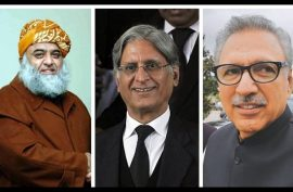 Arif Alvi, Aitzaz Ahsan and Maulana Fazl submit nomination papers for presidency