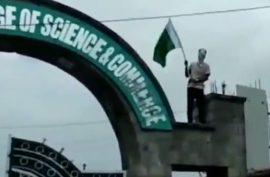 Kashmiri students raise Pakistani flag and slogans to celebrate independence