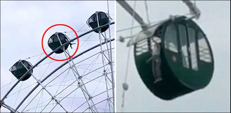 Heart-throbbing experience: Teenager slips during swing-ride from Ferris wheel cabin, seen dangling 130ft above the ground