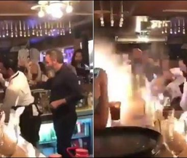 Flame stunts at a Turkish restaurant end up being a disaster