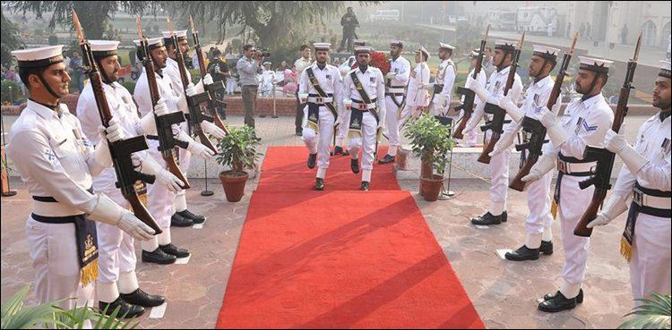 Change of guards ceremony at Muhammad Iqbal's mausoleum