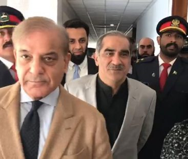 PML-N Saad Rafique accompanied by Shehbaz Sharif attend first National Assembly after arrest