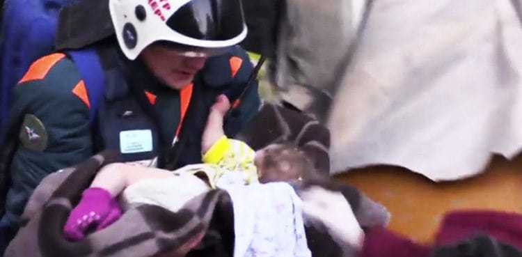 Baby rescued alive after 35 hours from beneath the rubbles