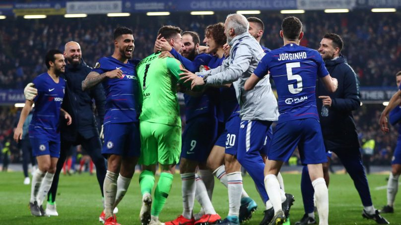 Hazard nets winning penalty as Chelsea reach Europa final