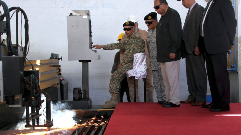 Steel Cutting Ceremony of 16 T Bollard Pull Pusher Tugs being built for Pakistan Navy at Karachi Shipyard