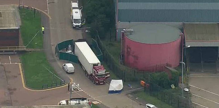 39 dead bodies recovered from truck container in east London