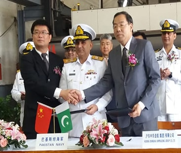 Steel Cutting Ceremony of two Type-054 A/P Warships for Pakistan Navy held at China