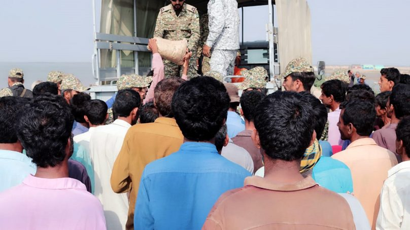 Pakistan Navy distributed Ration in Sea cyclone Kyaar affected areas on Thatta