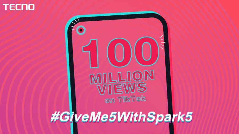 TECNO's#GiveMe5withSpark5ChallengeBreaks A Recordof 100M Views on Social Media