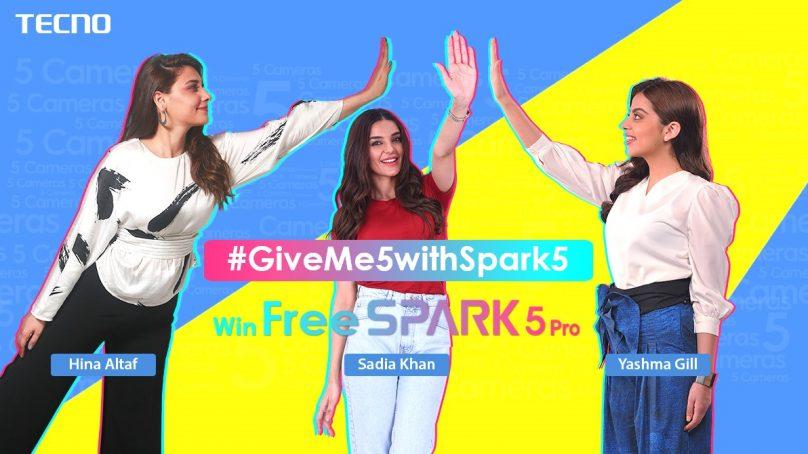 TECNO's new TikTok Challenge #GiveMe5WithSpark5celebrities are revealed