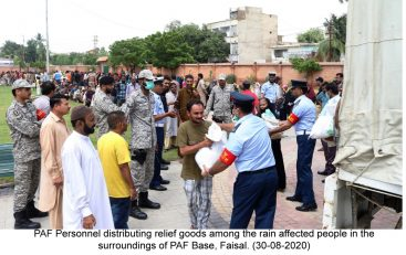 PAF distributes ration in rain affected  areas of Karachi