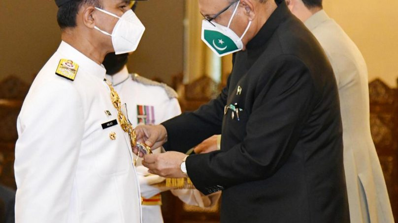 President of Pakistan honors Naval Chief with Nishan-e-Imtiaz (Military)