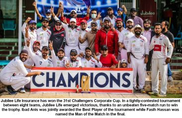 Jubilee Life Insurance won the 31st Challengers Corporate Cup Cricket