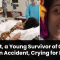 Kainat, a Young Survivor of Ghotki Train Accident, Crying for Help
